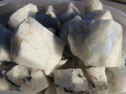 white rainbow moonstone rough rock