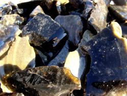 black obsidian rough rock
