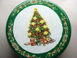 Round Christmas Tree Tin